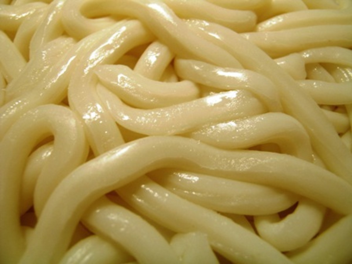 Because the noodles are formed by hand, the strands are a round shape, instead of having the typical flat sides seen in noodles that are cut.