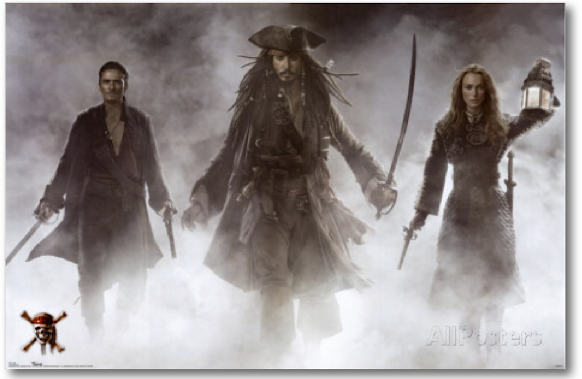 Pirates Of The Caribbean- At World's End Atmospheric Poster featuring Johnny Depp, Orlando Bloom, and  Keira Knightley.
