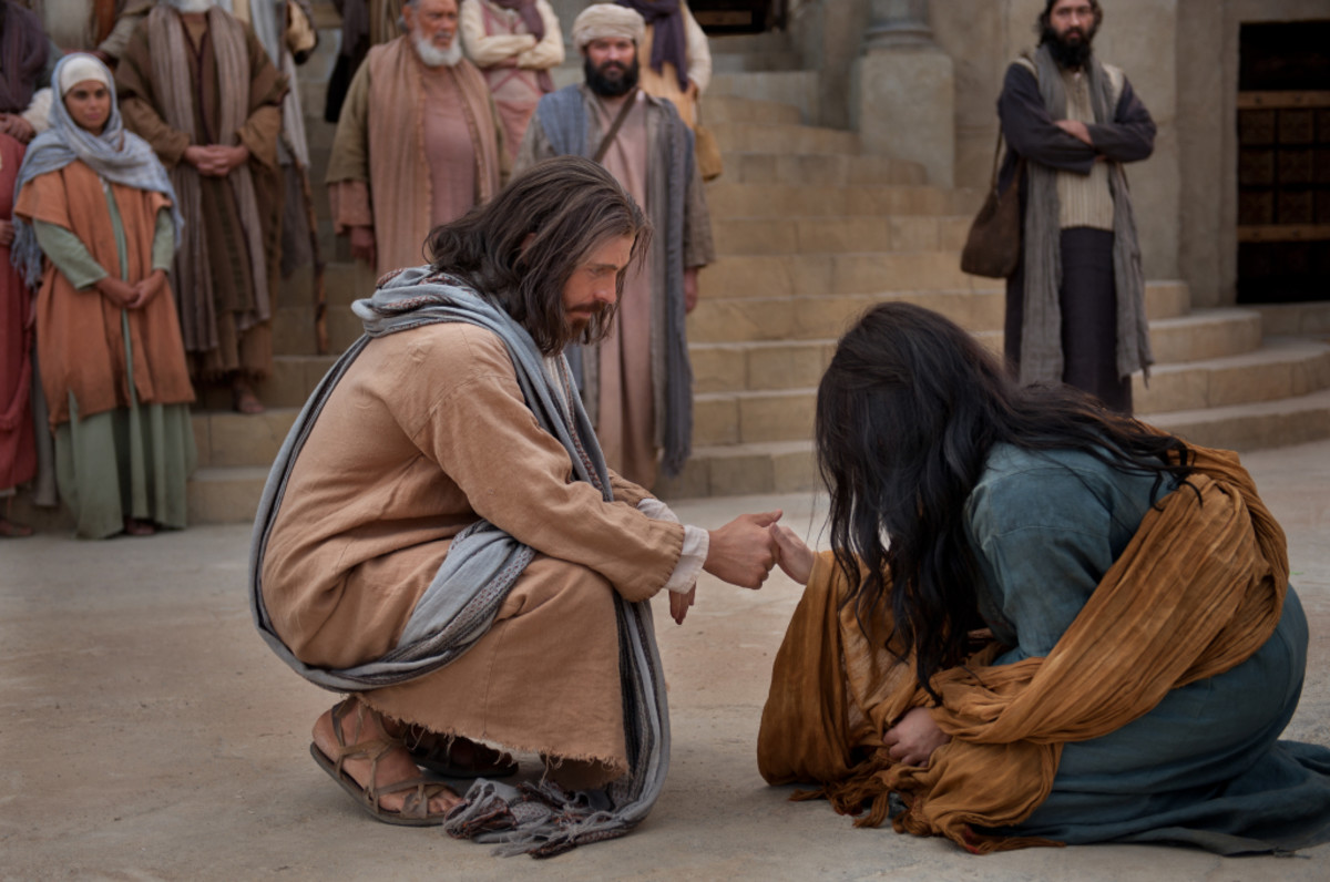 """The woman caught in adultery was repentant. Jesus forgave her and told her """"Go, and sin no more."""""""