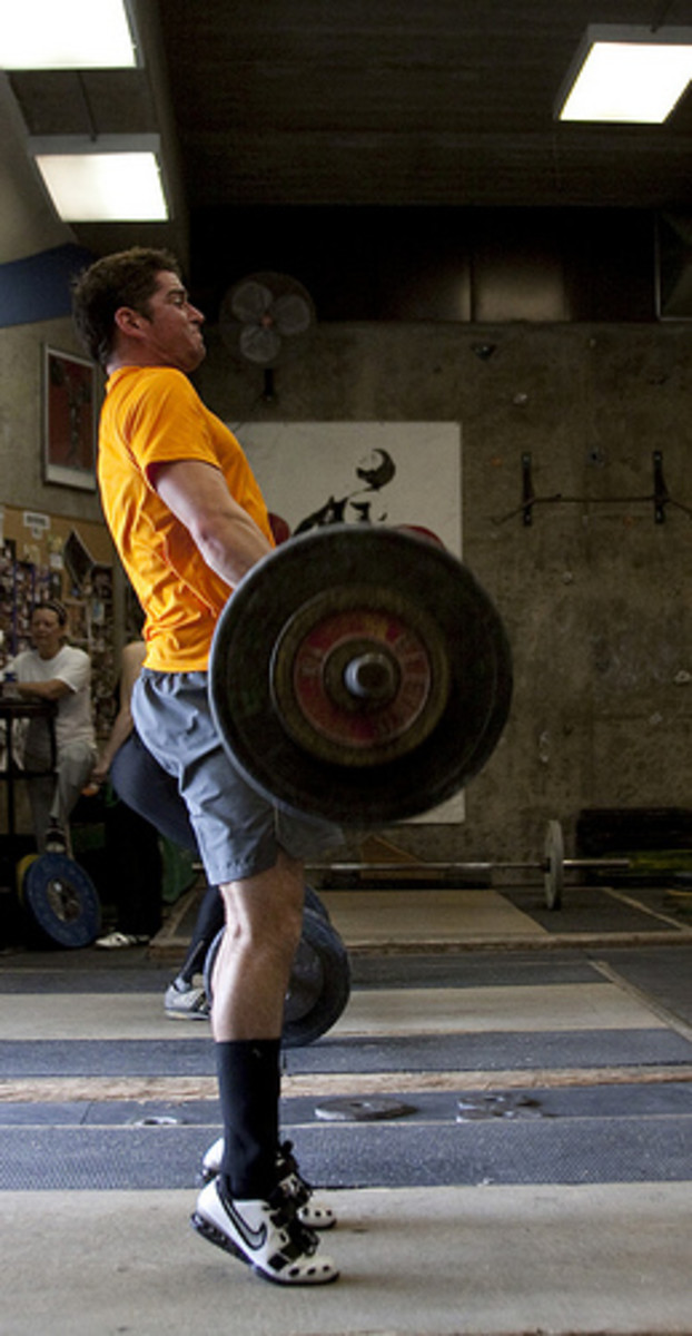 Mucle Soreness is exaggerated by eccentric muscle actions.