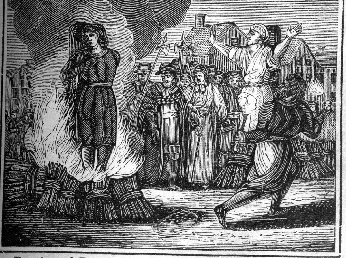 A mid 19th century book depicts witch burning.