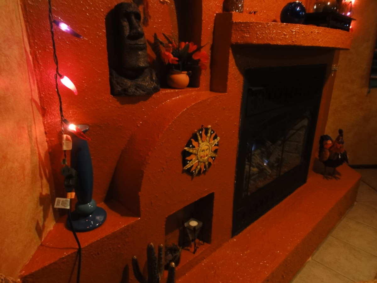 How to build a spanish adobe fireplace grotto and create - How do you say living room in spanish ...