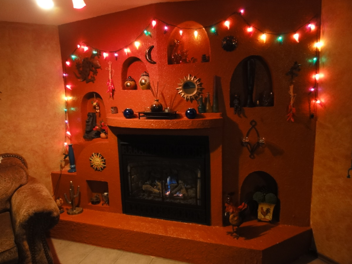 How to build a spanish adobe fireplace grotto and create for Design your own fireplace