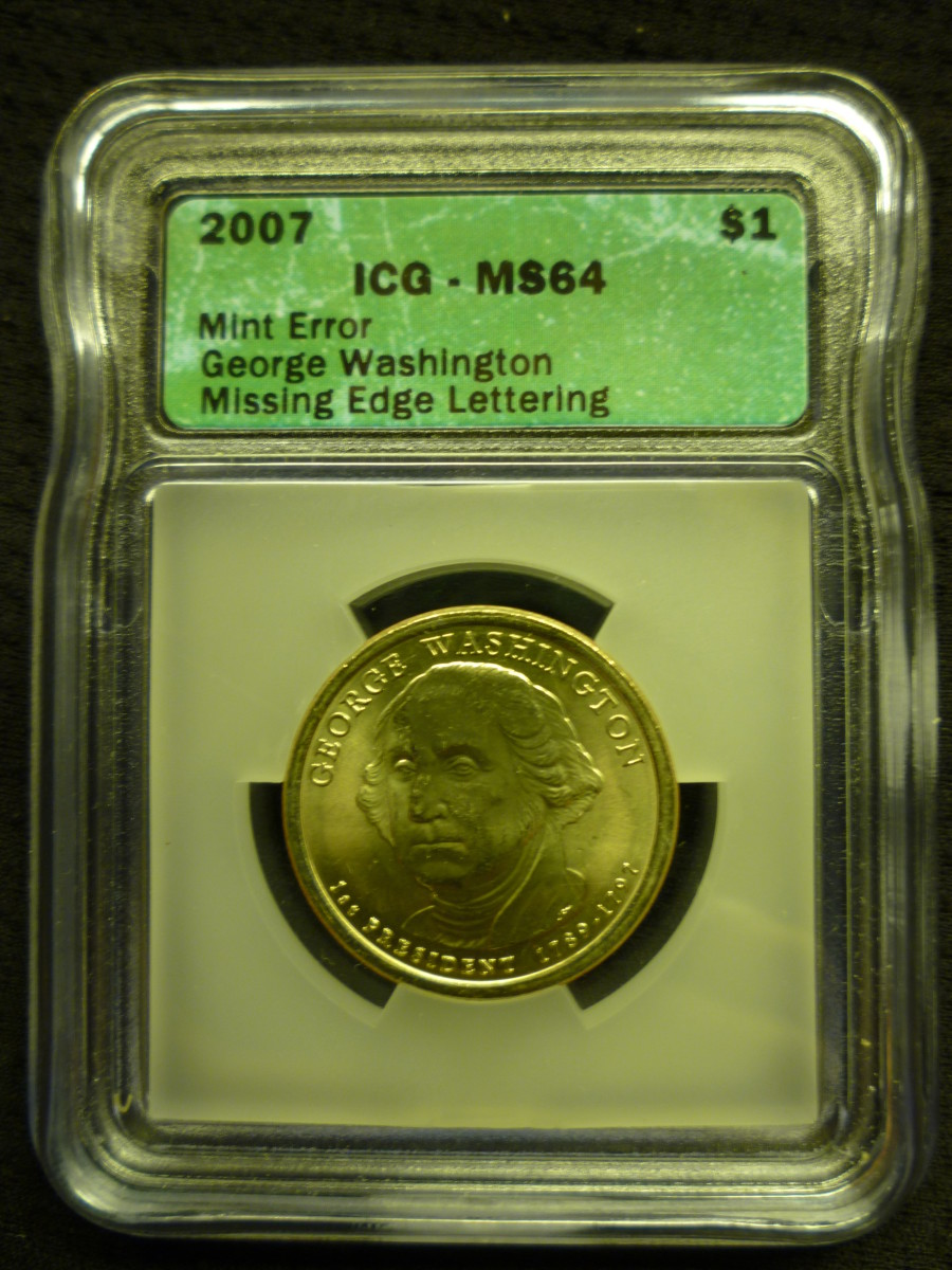 Smooth Edge Washington Dollar Error Coin.