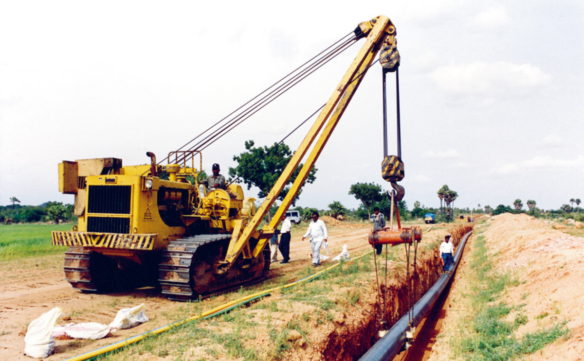 The pipelines being laid. ( More than 2000 kms of pipes were laid)