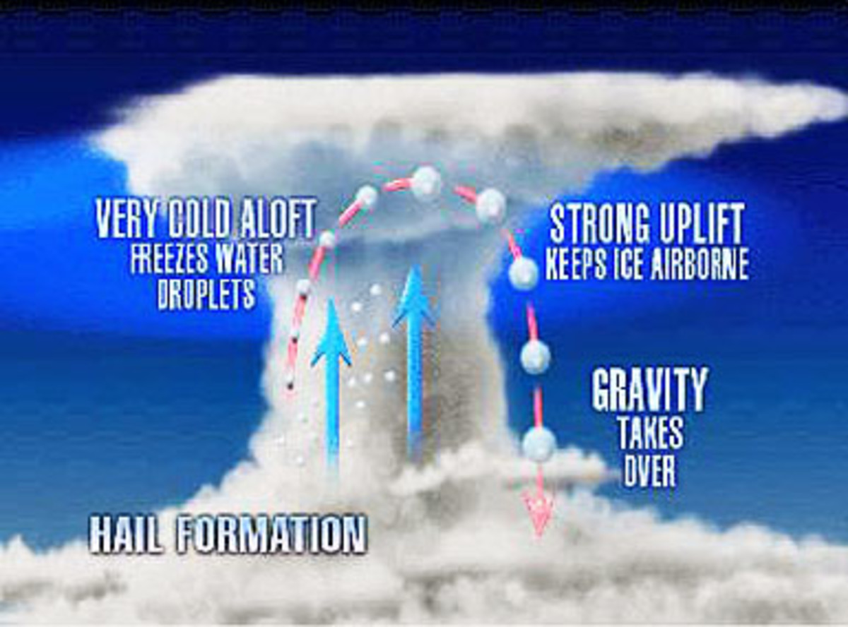 A diagram showing how hail forms in a thunderstorm.