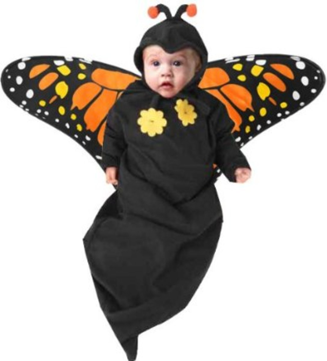Your precious baby will love being swaddled in this bag-like baby butterfly costume.