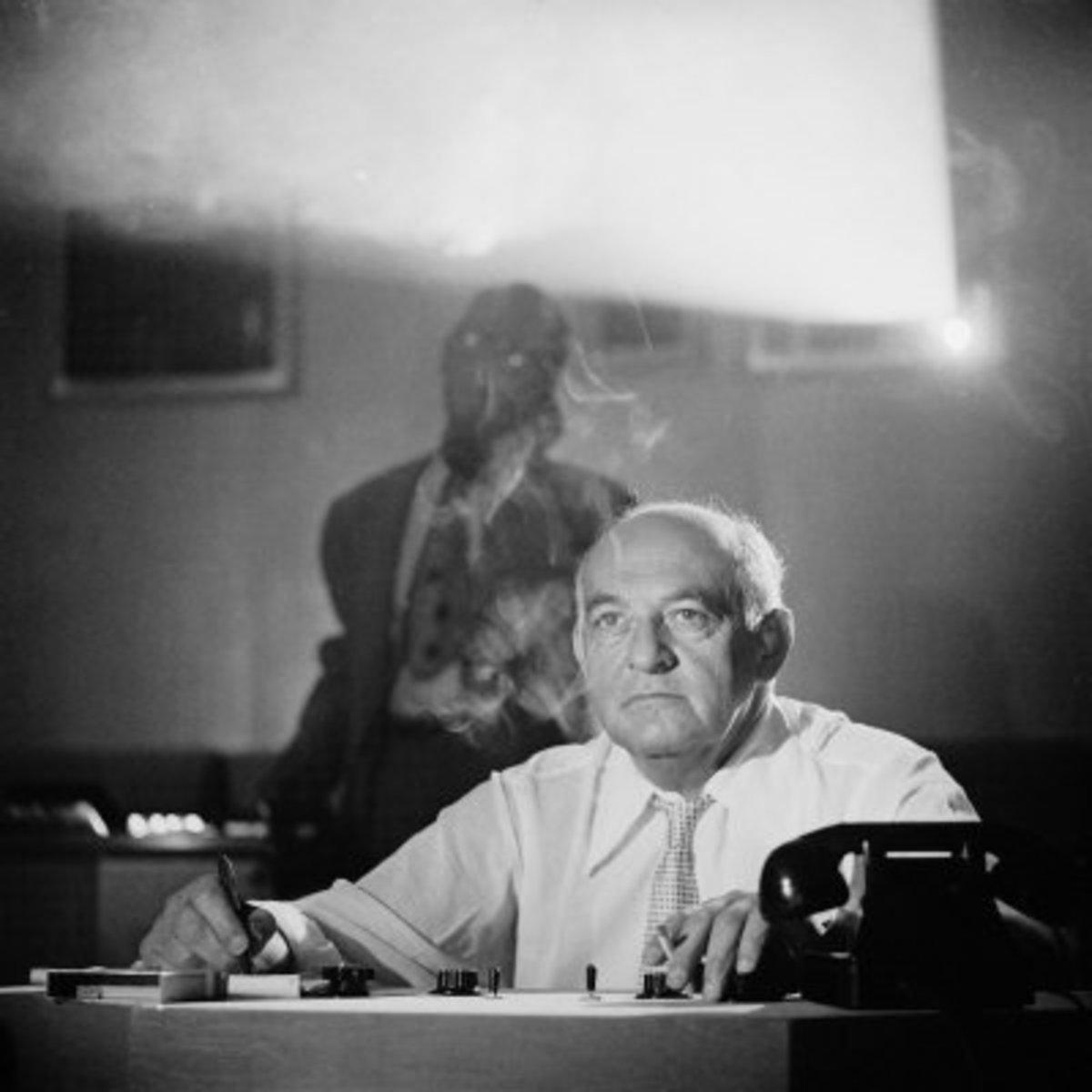 Harry Cohn in Screening Room