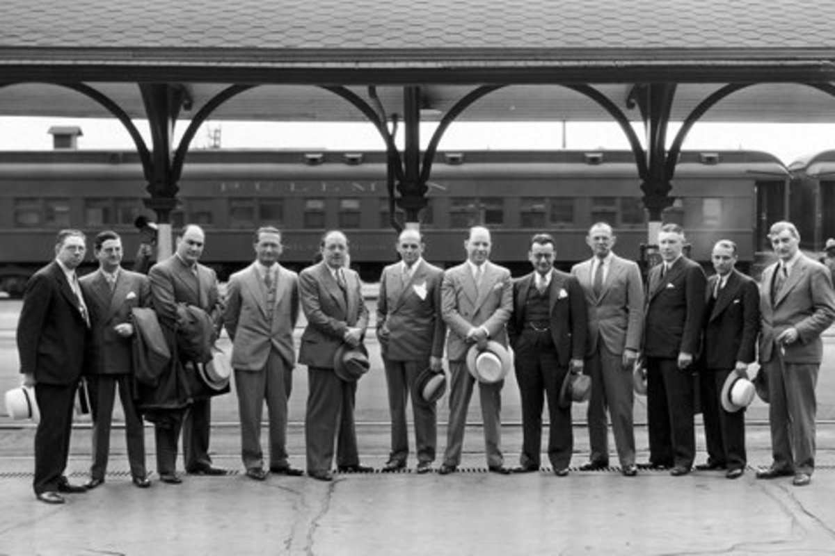 Jack and Harry ( fifth and sixth from left) with early Columbia employees