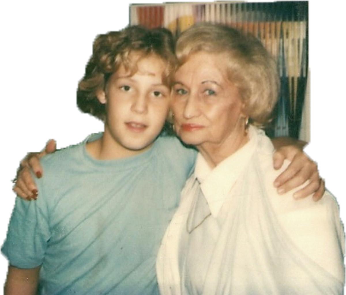 Peter Kellerman taking a photo with his paternal Grandmother Evelyn Kellerman (nee Kadis) otherwise known as Nana Sweetie.