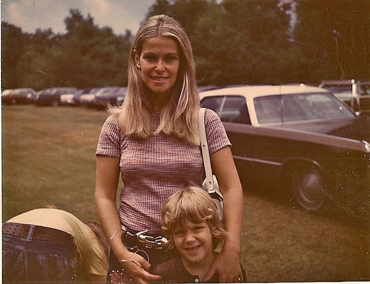 Aunt Joyce and Peter on Visiting day at Camp Birchwood, West Goshen Ct