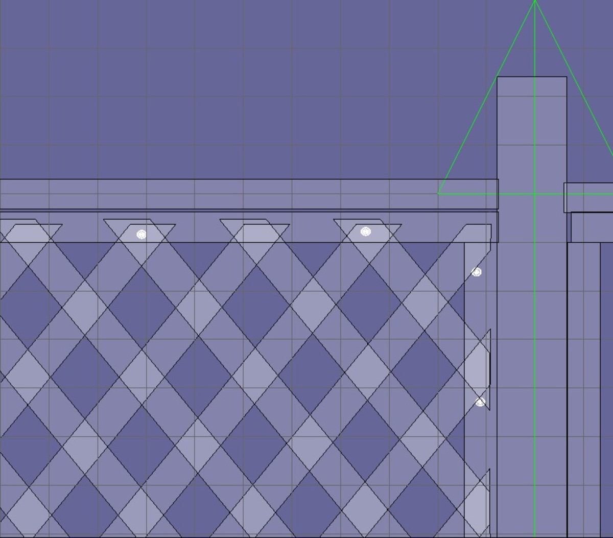 Fig 6.  Securing the lattice to the stops.