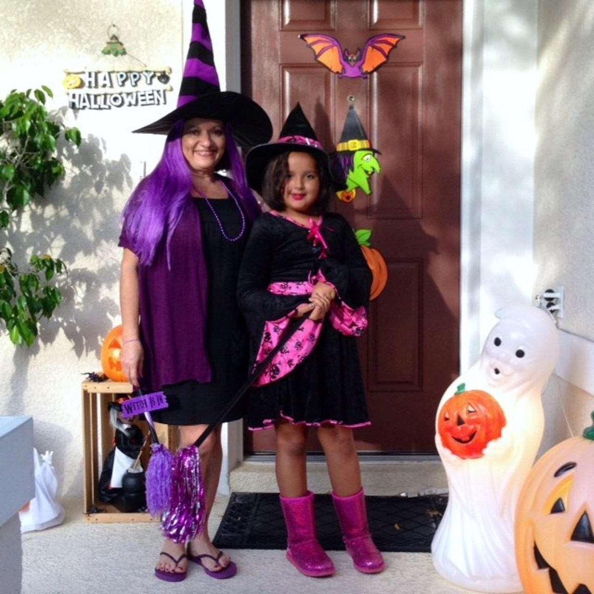 My granddaughter Faith and myself as not so Wicked Witches -2013