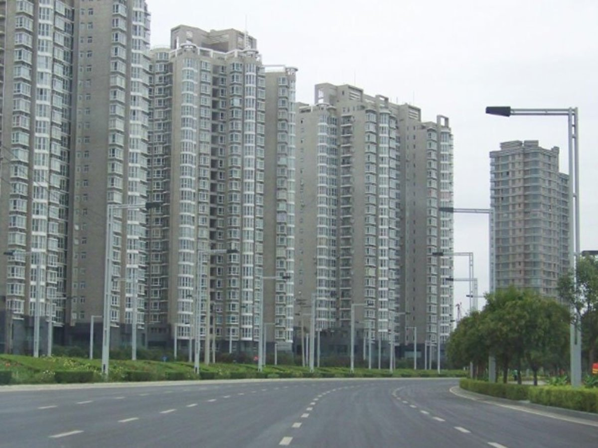 Zhengzhou new district with empty residential towers