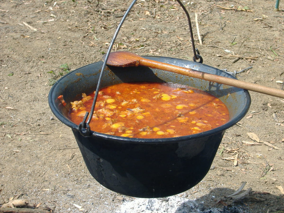 Gulyas simmering in a Bogracs
