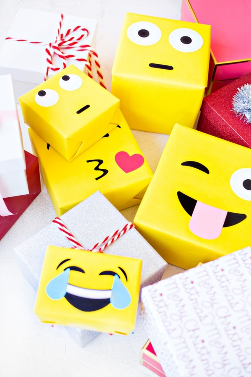 Add a pop of color to a party with these DIY Emoji gift wraps.