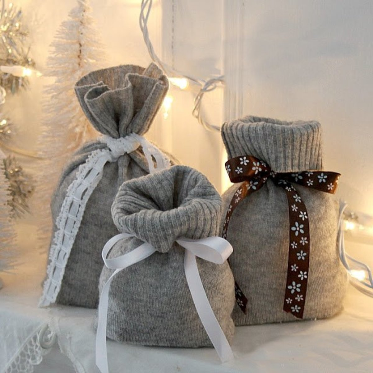 Old sweater sleeves make good gift bags.