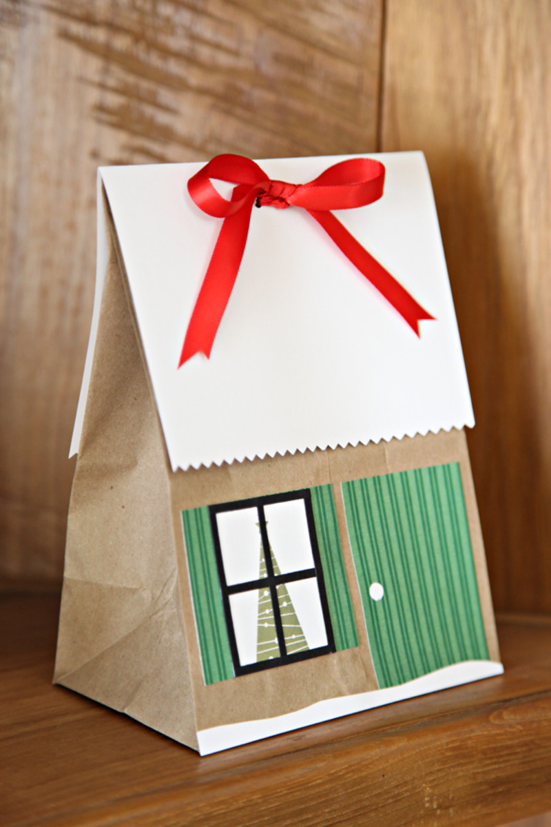 "Make a ""treat house"" out of a paper bag. Your kids can get in on the action and help you, too!"