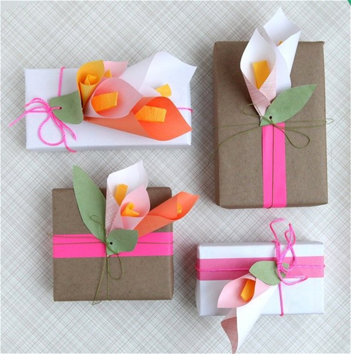 Paper flowers are an inexpensive and whimsical way to brighten up a Mother's Day gift.