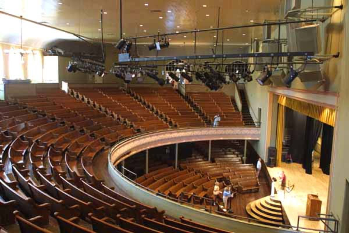 "Inside of the Ryman Auditorium, there are pews for seats, and it is still called ""The Mother Church Of Country Music."""