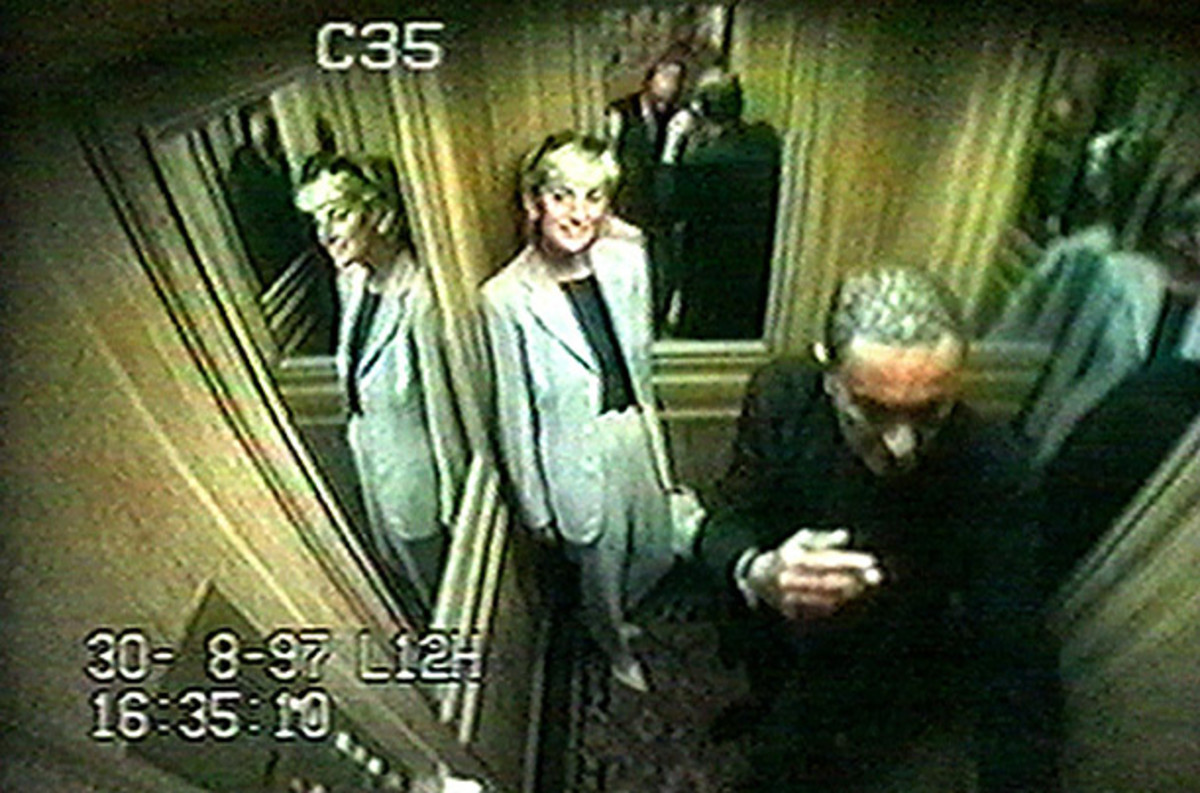 A CCTV recording shows Diana leaving the Ritz Hotel in Paris moments before the fatal car crash