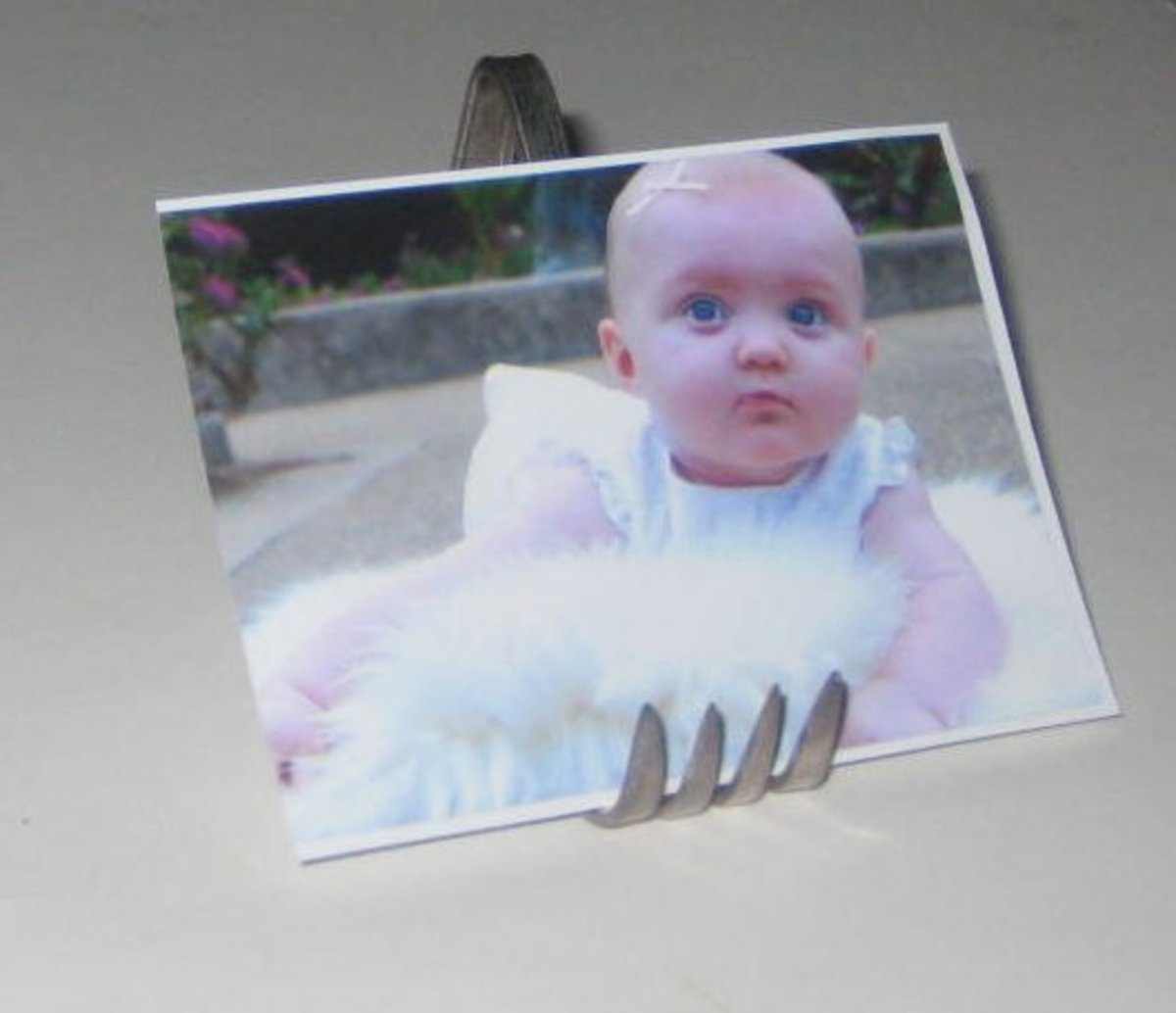 Fork picture frame. This bent fork could also be used to hold a recipe card in the kitchen or any paper that is small and sturdy.