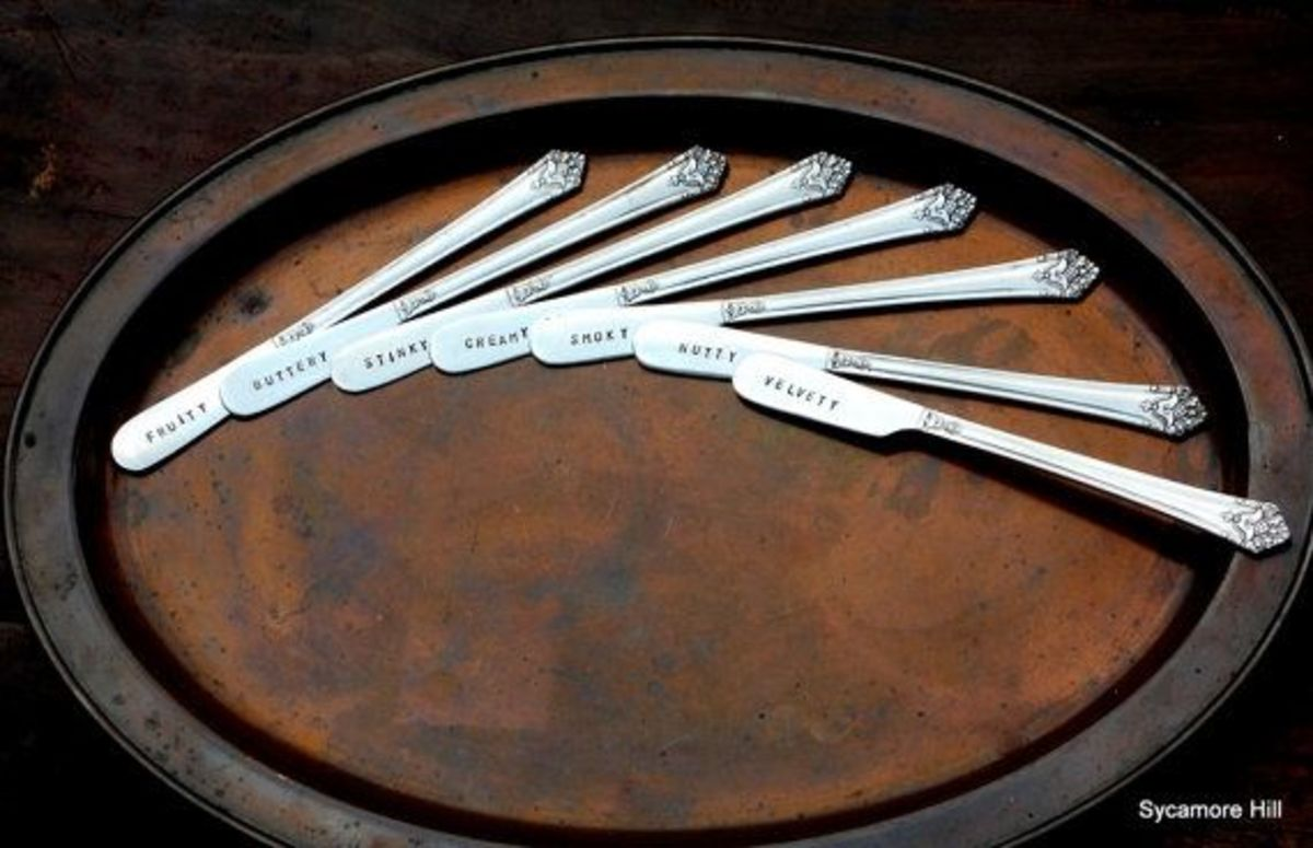 Cheese knives stamped by SycamoreHill. See the link below to check these out on Etsy.