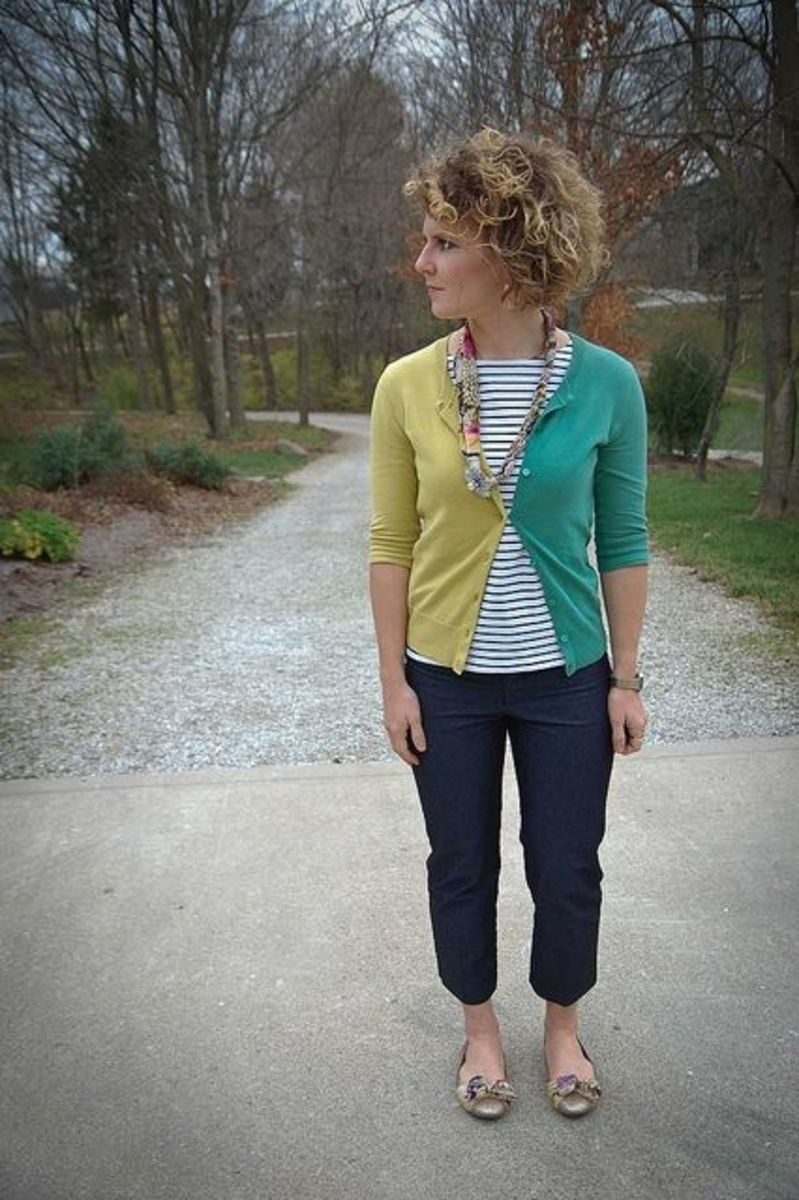 You can sew lots of your current clothes together to create brand new items - such as this cardigan made from 2 cardis of different colors.