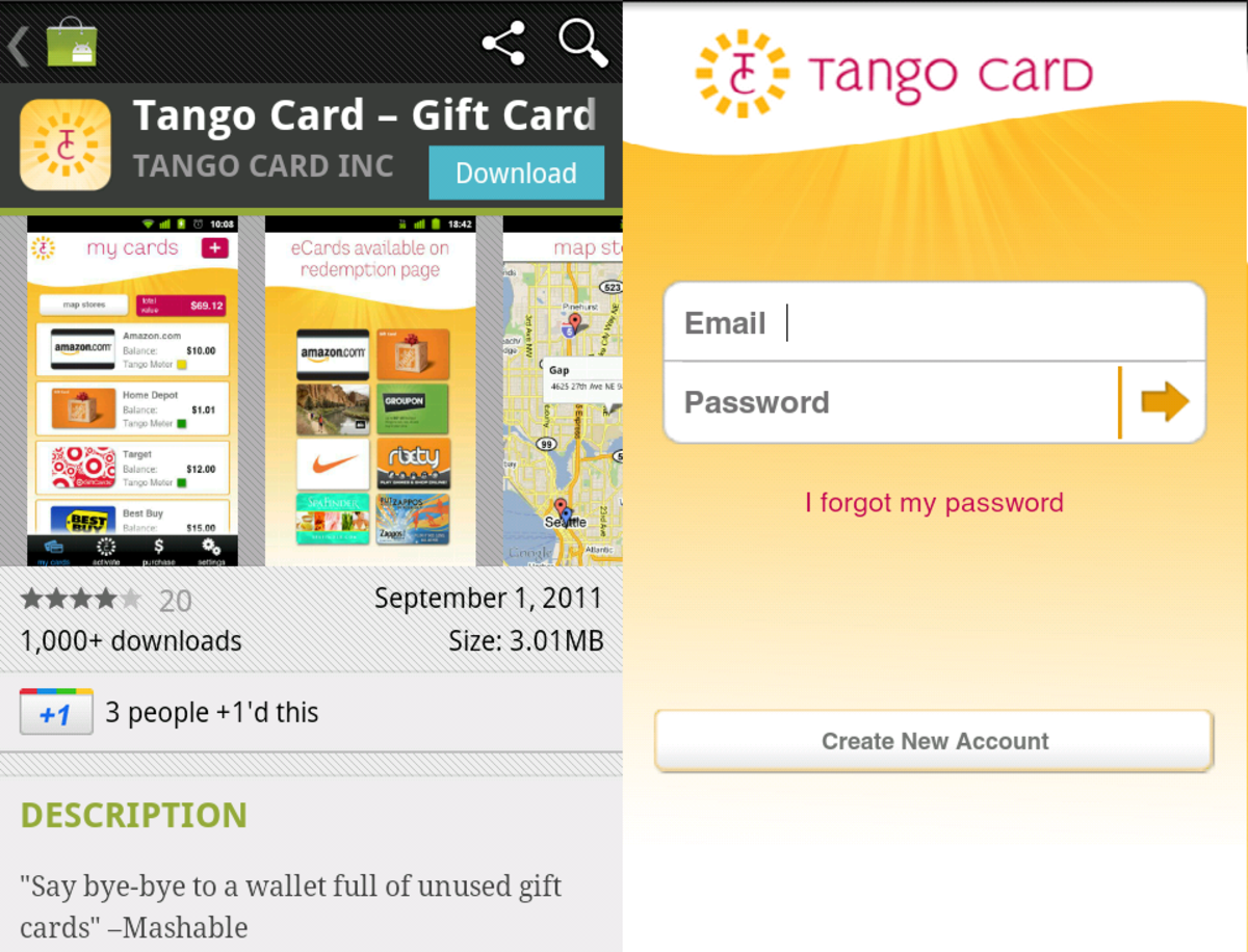 Tango mobile app for iPhone and Android.