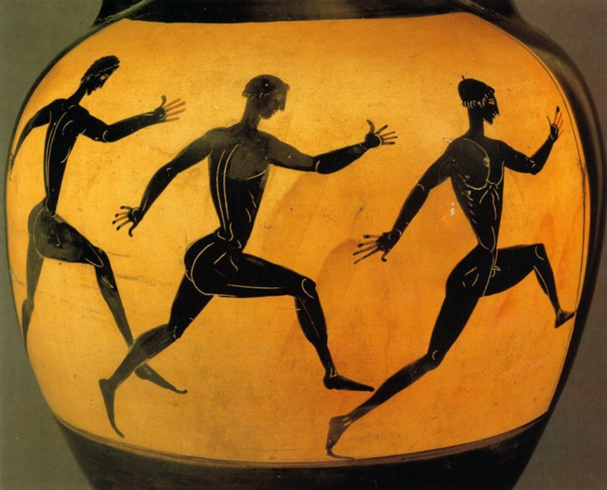 Three Participants In A Footrace At The Panathenaic Games. 6th Century B.C., Depicted On A Vase Presented As A Prize To The Footrace's Winner