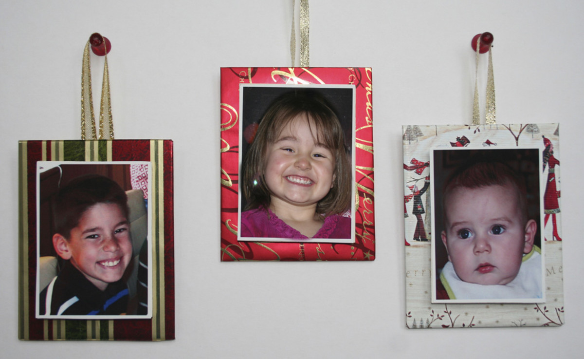Recycled paper photo ornaments