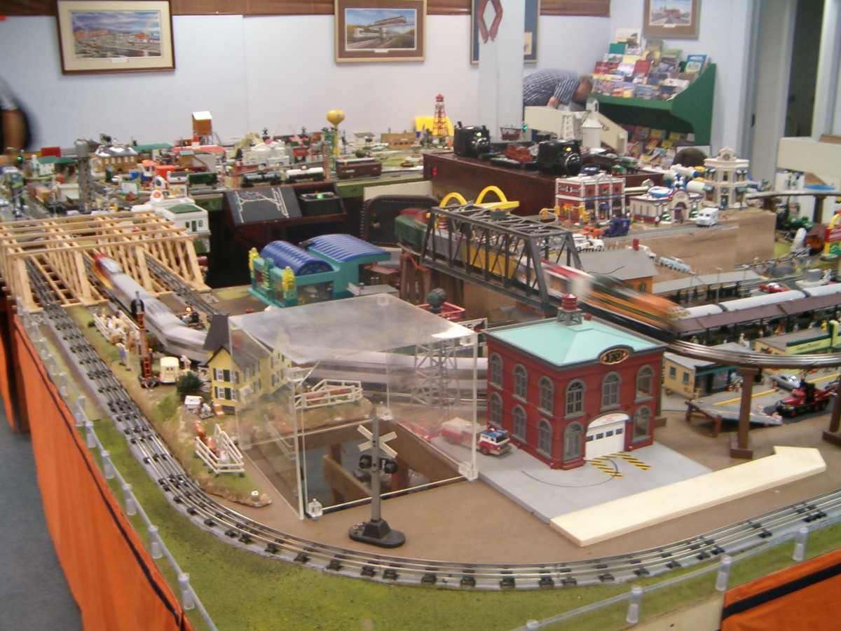 Portable train layouts are affected by a model train's scale and gauge,