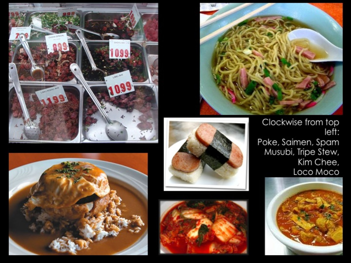 Clockwise from top left: poke, saimin, spam musubi, tripe stew, kimchee, loco moco