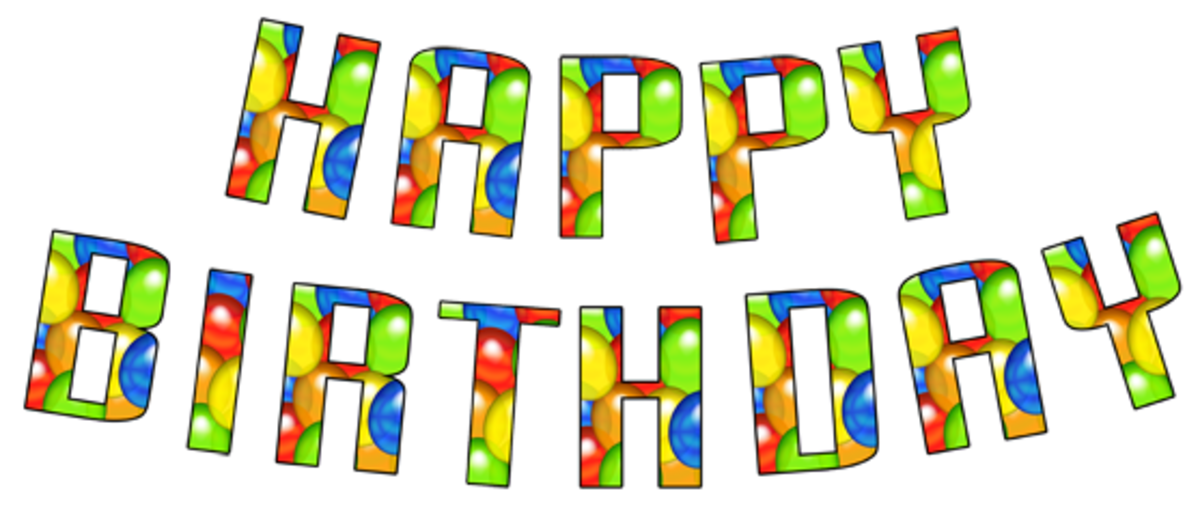 Use this small graphic for a birthday greeting or print a large version using the lettering below!