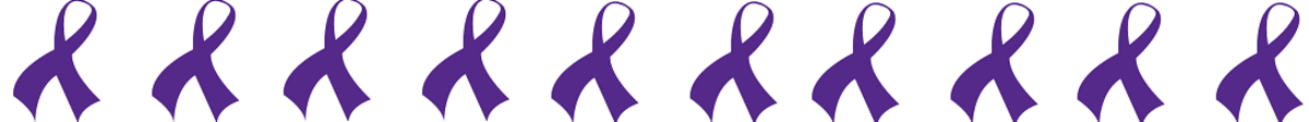 Pancreatic Cancer Awareness Ribbon in Deep Purple in a Horizontal Line
