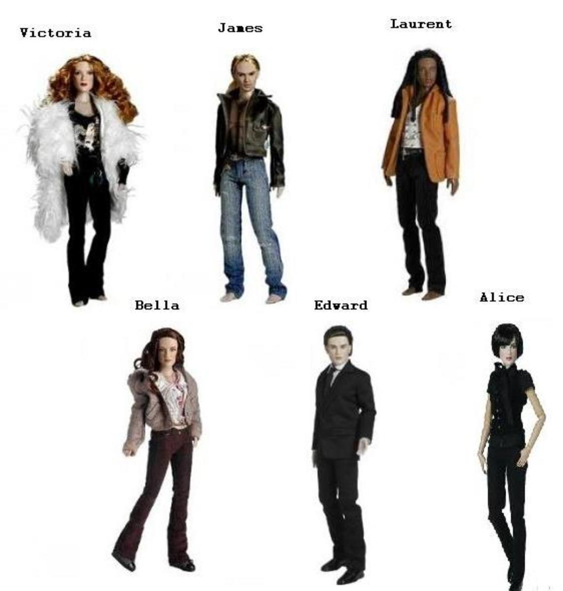 Twilight Saga Tonner Dolls - Edward Cullen, Bella Swan, Jacob Black,Victoria, James, Laurent, Jasper Hale, Alice
