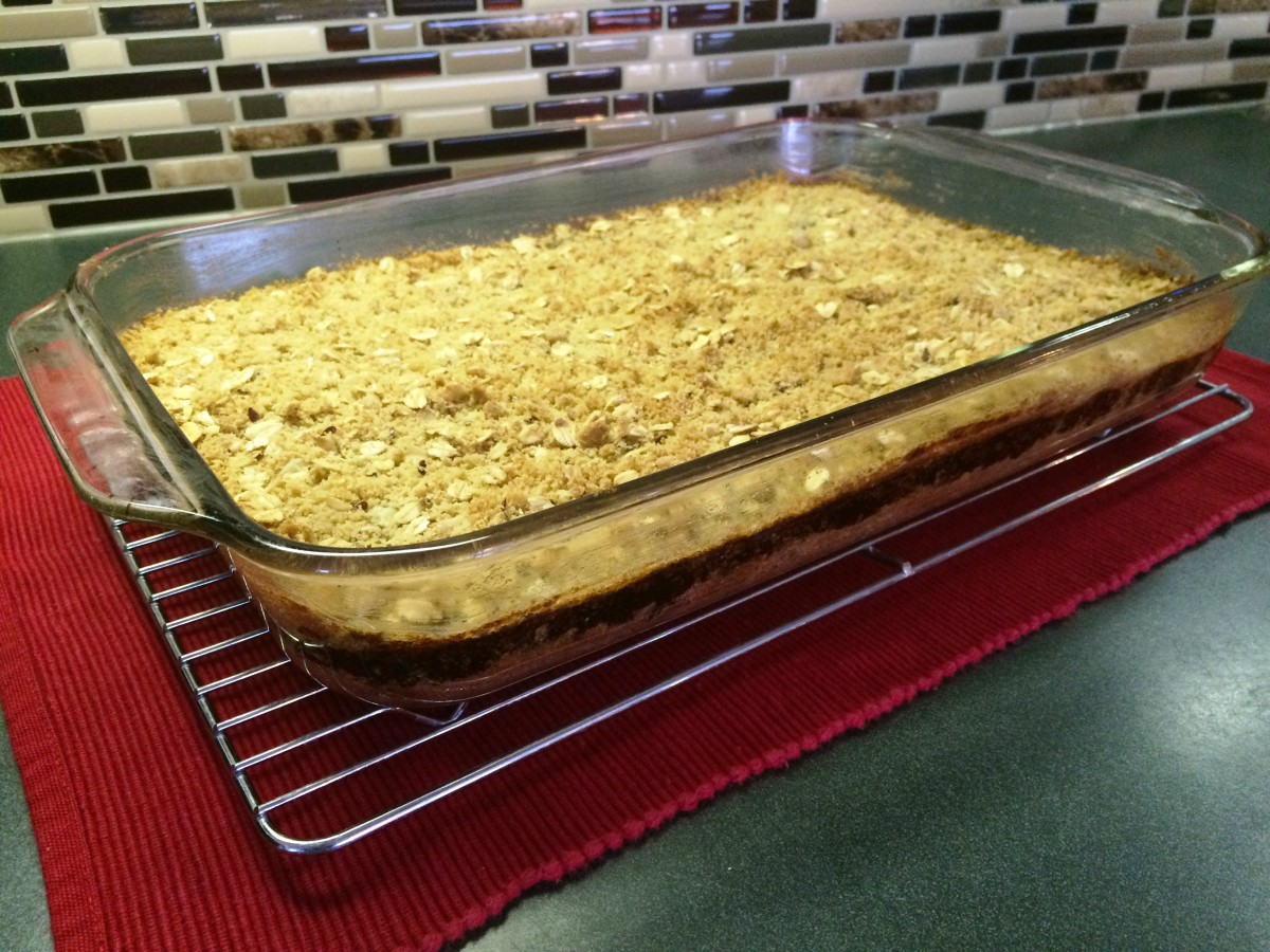 A pan of baked mincemeat bars ready to be cut into squares.