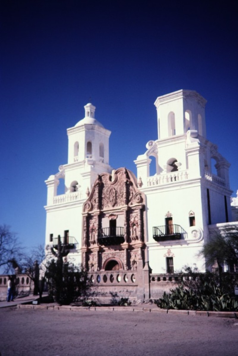 Closeup photo of Mission San Xavier del Bac
