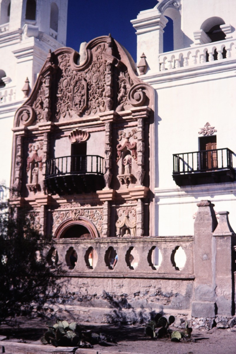 Close-up photo of Mission San Xavier del Bac
