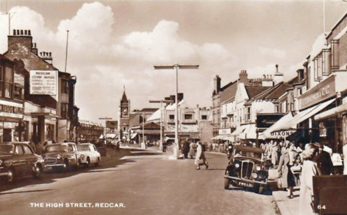High Street, Redcar, 'Woollies' is on the left. A lot of changes since then, such as half the length being pedestrianised.