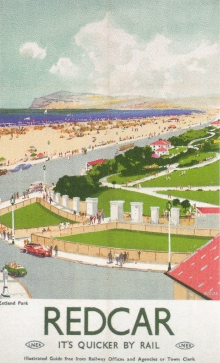 Idealised Redcar Beach looking towards Huntcliff from late 1940s LNER railway poster. The local authority is in the process of restoring the sea front or Esplanade for much of its length.