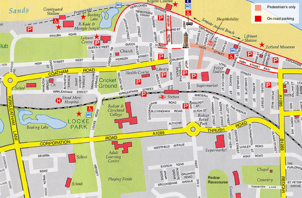 A modern plan of the borough of Redcar, showing the pedestrian area on the High Street