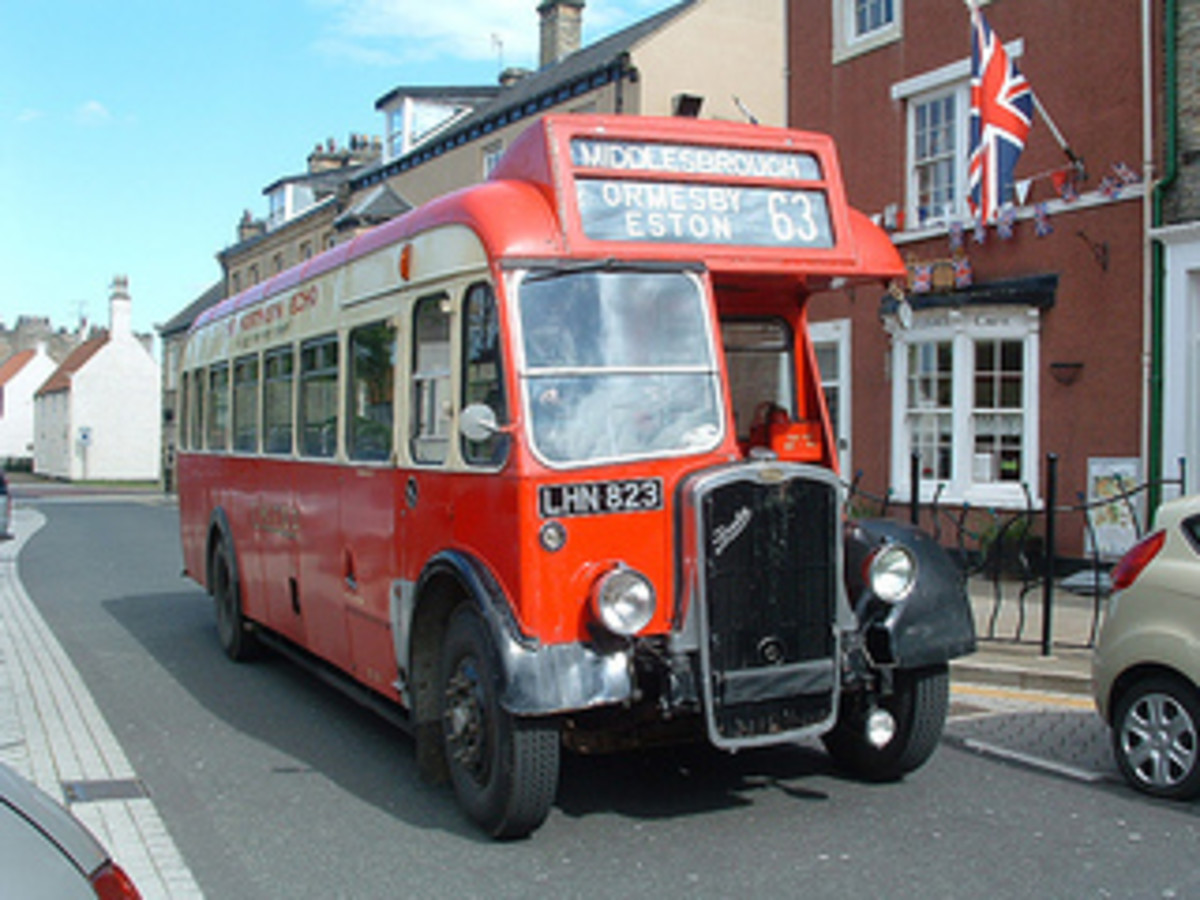 Preserved 63 bus. Bristol L5G for Middlesbrough via Eston and Ormesby. (Most days though they were Guy Arab double-deckers with side gangways); got  three images of the single-deckers on the Thoraldby layout (cf RITES OF PASSAGE 16)