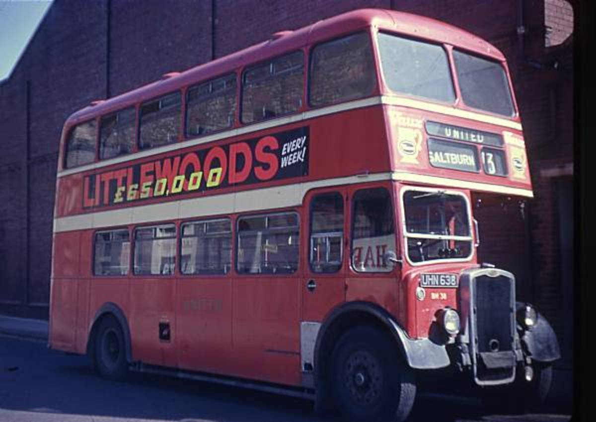 1950s United bus at Middlesbrough awaiting driver for Redcar and Saltburn service 73. The bus station at the east end of the High Street was a hub for services to Middlesbrough, Saltburn, Eston, Guisborough and beyond