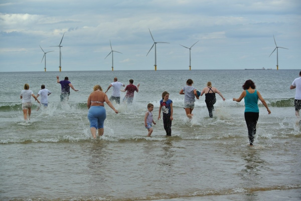 On Boxing Day, 2008 the Tesco store staff and families took their charity dip in the North Sea