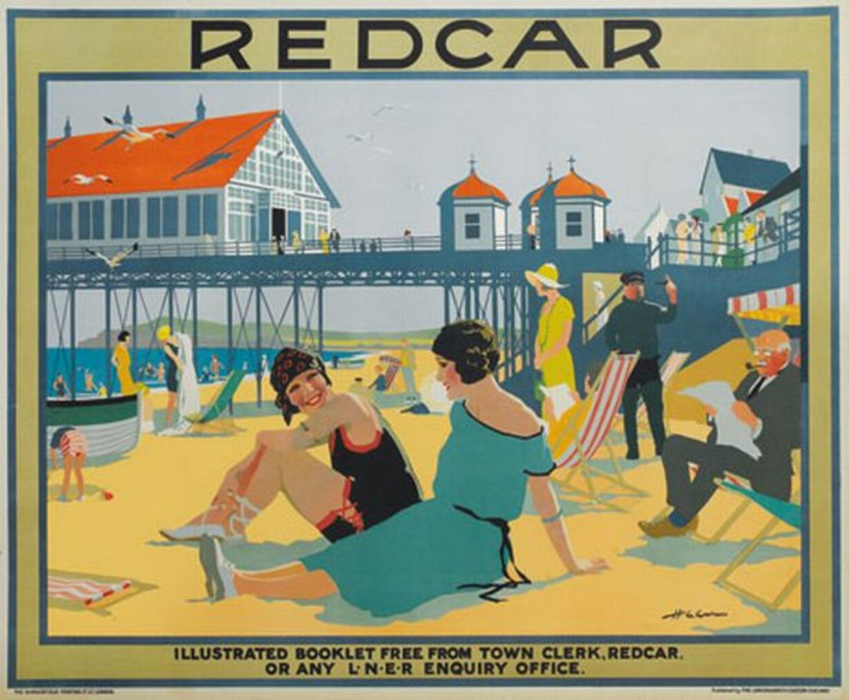 Pre-WWII Teen Scene on Redcar Beach with the ill-fated pier behind. This was in the heyday of seaside hols, ice creams, tea tents, Punch'n'Judy, candy floss, comics (walking, talking kind, that entertained the grown-ups with double-entendre)