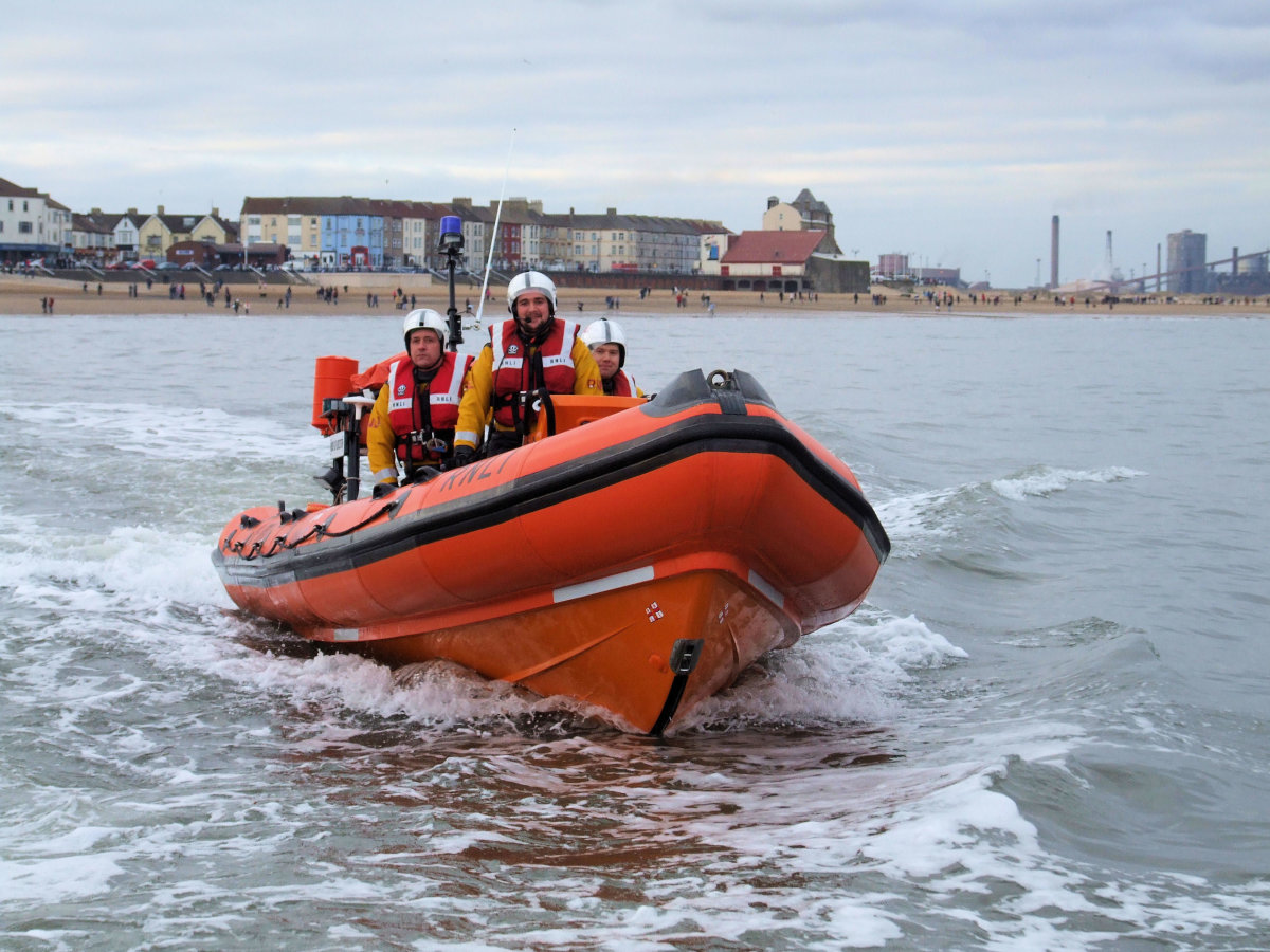 This is the modern RNLI Redcar Lifeboat, see offshore on the day of the Tesco Boxing Day Dip (see below), 2008