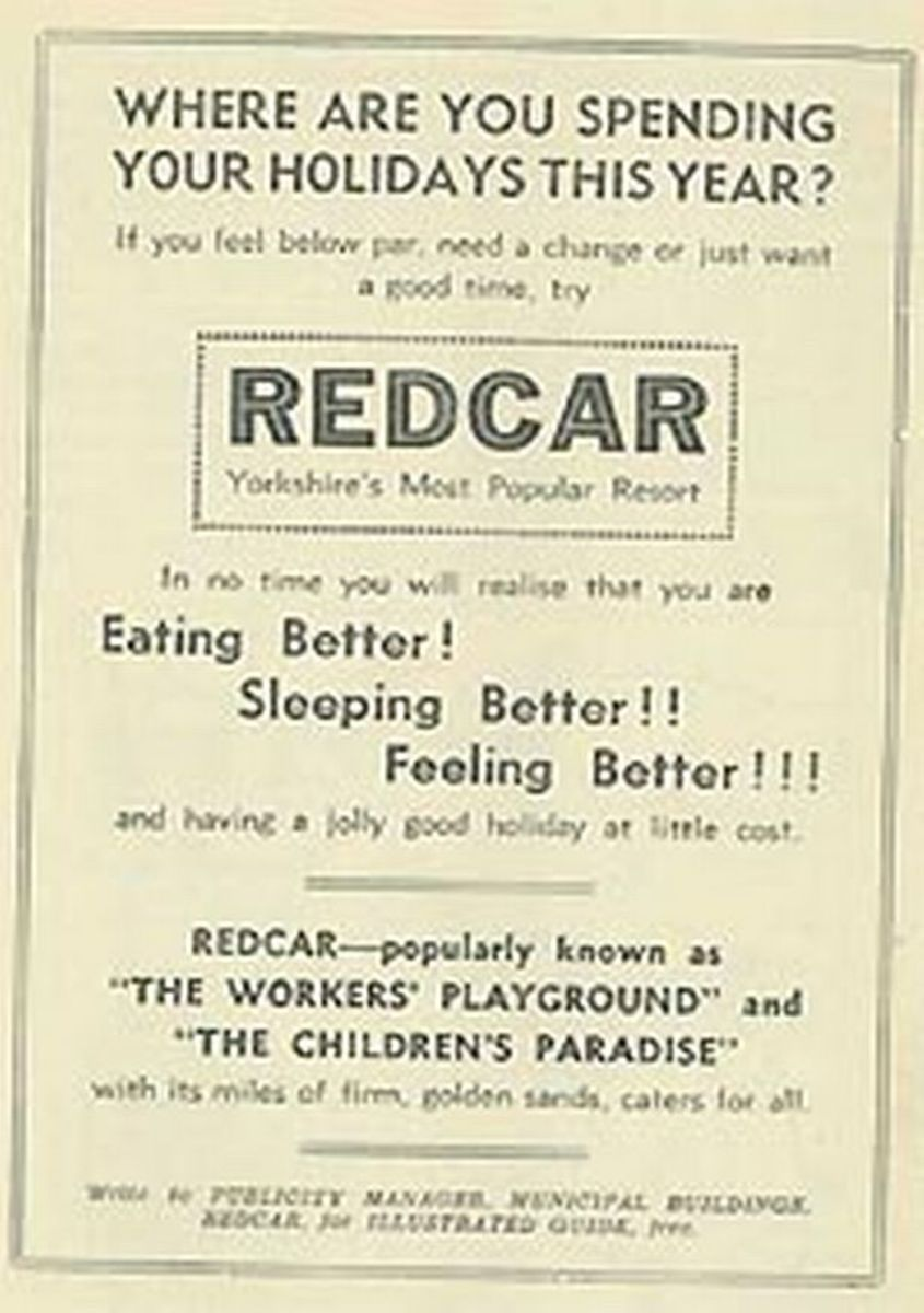Local press advert from the 1950s for family breaks in Redcar - children's holiday welfare features strongly