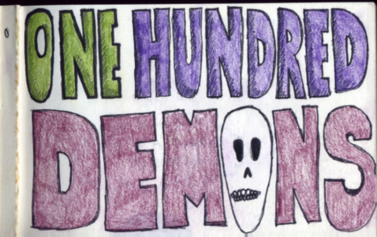 Lynda Barry suggests you write your own 100 demons, like Looli did in this picture.