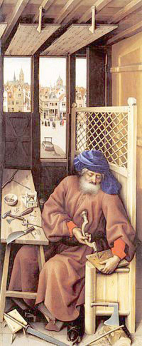 Third panel of the Mérode triptych St.Joseph,husband of Mary constructing a mouse trap. IT SYMBOLIZE CHRIST TRAPPING AND DEFEATING THE DEVIL